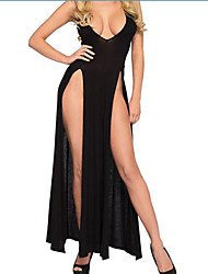cheap -Women's Backless Sexy Chemises & Gowns Nightwear Solid Colored Black S M L / Strap