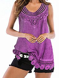 cheap -Women's Daily Basic Plus Size Loose Tank Top - Solid Colored Purple / Summer