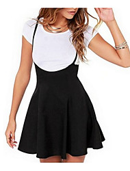 cheap -Women's Daily Going out Basic Skirts Solid Colored Ruched Patchwork Black