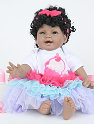 cheap -FeelWind 22 inch Reborn Doll Girl Doll Baby Girl Indian Girl African Doll Reborn Baby Doll lifelike Hand Made Child Safe Non Toxic Parent-Child Interaction Full Body Silicone with Clothes and