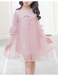 cheap -Kids Little Girls' Dress Dusty Rose Solid Colored Daily Holiday Lace White Blushing Pink Knee-length Half Sleeve Basic Chinoiserie Dresses Summer Slim