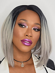 cheap -Synthetic Lace Front Wig Ombre Straight Bob Middle Part Lace Front Wig Ombre Short Black / Grey Synthetic Hair Women's Heat Resistant Women Middle Part Bob Ombre
