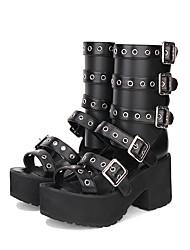 cheap -Women's Lolita Shoes Gothic Lolita Punk Gothic Creepers Shoes Lolita 8 cm Black PU(Polyurethane) Halloween Costumes
