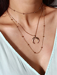 cheap -Women's Choker Necklace Layered Necklace Tassel Moon Crescent Moon Ladies Dangling Trendy Alloy Gold Silver 30+50 cm Necklace Jewelry 1pc For Gift Street