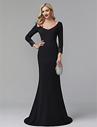 cheap -Mermaid / Trumpet Plunging Neck Court Train Chiffon Celebrity Style Formal Evening Dress 2020 with Pleats
