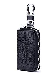 cheap -Cowhide Zipper Key Holder Daily Dark Blue / Coffee / Light Purple / Fall & Winter