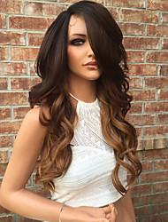 cheap -Human Hair Glueless Lace Front Lace Front Wig Layered Haircut Kardashian style Brazilian Hair Wavy Body Wave Ombre Two Tone Wig 130% Density with Baby Hair Ombre Hair Natural Hairline Glueless Women's