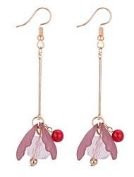 cheap -Women's Drop Earrings Long Flower Ladies Sweet Fashion Earrings Jewelry Green / Pink / Dark Purple For Party / Evening Office & Career 1 Pair