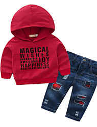 cheap -Baby Boys' Basic Daily Solid Colored Long Sleeve Regular Clothing Set Red / Toddler