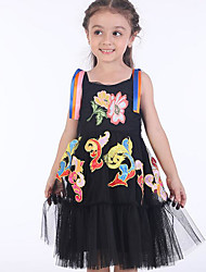 cheap -Kids Girls' Basic Geometric Sleeveless Dress Black