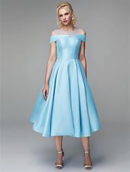 cheap -A-Line Elegant Minimalist Homecoming Prom Dress Illusion Neck Short Sleeve Tea Length Satin Tulle Mikado with Pleats Crystals 2020