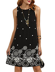 cheap -Women's Wine Black Dress Summer Going out Shift Graphic Print S M