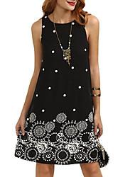 cheap -Women's Going out Shift Dress - Graphic Print Summer Black Dark Blue Wine L XL XXL
