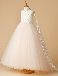 cheap -Ball Gown Floor Length Flower Girl Dress - Lace / Tulle Sleeveless Jewel Neck with Beading / Appliques / Flower