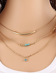 cheap -Women's Turquoise Chain Necklace Layered Necklace Eyes Ladies Elegant Sweet Fashion Alloy Gold 40 cm Necklace Jewelry 3pcs For Daily Going out