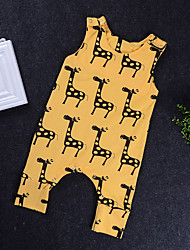cheap -Baby Boys' Active / Basic Daily Solid Colored / Print Artistic Style / Print / Basic Sleeveless Cotton Romper Yellow / Toddler
