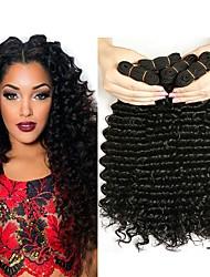 cheap -4 Bundles Malaysian Hair Curly Human Hair Natural Color Hair Weaves / Hair Bulk Human Hair Extensions 8-28 inch Natural Color Human Hair Weaves Best Quality Hot Sale For Black Women Human Hair / 8A