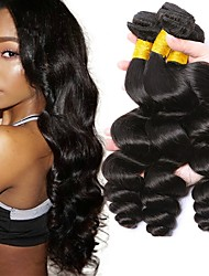 cheap -3 Bundles Indian Hair Wavy Human Hair Natural Color Hair Weaves / Hair Bulk Human Hair Extensions 8-28 inch Natural Color Human Hair Weaves Fashionable Design Best Quality Hot Sale Human Hair / 8A