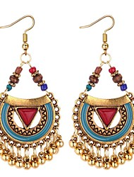 cheap -Women's Synthetic Tanzanite Drop Earrings Long Ladies Asian Vintage Ethnic Fashion Resin Earrings Jewelry Black / Red / Blue For Wedding Birthday 1 Pair