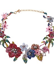 cheap -Women's Crystal Choker Necklace Chain Necklace Sculpture Tree of Life Flower Ladies Luxury Bohemian Fashion Stone Alloy Rainbow 38+8 cm Necklace Jewelry 1pc For Wedding Engagement