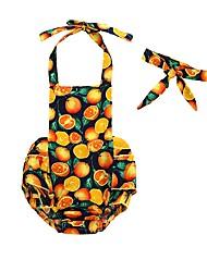 cheap -2pcs Baby Girls' Active Daily / Holiday Print Peplum / Print Sleeveless Cotton Bodysuit Orange