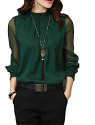 cheap -Women's Basic Blouse - Solid Colored Lace / Mesh / Patchwork Stand