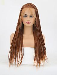 Недорогие -Синтетические кружевные передние парики Матовое стекло тесьма Лента спереди Парик Длинные Medium Auburn Искусственные волосы Жен. Жаропрочная Парик с косичками Коричневый