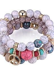 cheap -3pcs Women's Synthetic Tanzanite Bead Bracelet Beads Creative Ladies Vintage Ethnic Fashion Acrylic Bracelet Jewelry Black / Rainbow / Red For Party Practice / Resin