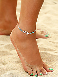cheap -Anklet feet jewelry Ladies Boho Bohemian Women's Body Jewelry For Holiday Bikini Turquoise Alloy Music Notes Donuts Silver 1pc