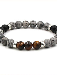 cheap -Men's Agate Hologram Bracelet Casual European Ethnic Agate Bracelet Jewelry Brown / White For Daily Going out