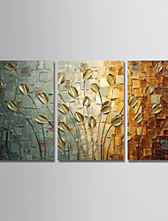 cheap -Oil Painting Hand Painted Vertical Abstract Modern Stretched Canvas / Three Panels