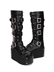 cheap -Women's Lolita Shoes Boots Princess Lolita Punk Creepers Shoes Lolita Black PU(Polyurethane) Halloween Costumes