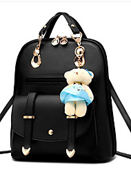 cheap -PU Leather Rivet / Ruffles Cover Commuter Backpack Solid Colored Event / Party Wine / White / Black