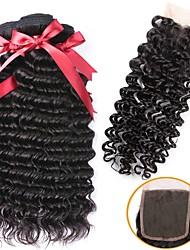 cheap -3 Bundles with Closure Indian Hair Curly Human Hair Natural Color Hair Weaves / Hair Bulk Extension Hair Weft with Closure 8-22 inch Natural Color Human Hair Weaves Best Quality New Arrival For Black