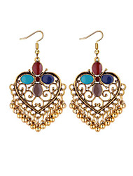 cheap -Women's Drop Earrings Heart Flower Hollow Heart Statement Ladies Vintage Fashion Earrings Jewelry Black / Dark Blue / Rainbow For Wedding Party / Evening 1 Pair