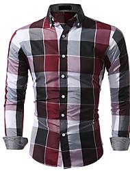 cheap -Men's Cotton Shirt - Plaid / Check Classic Collar Blue