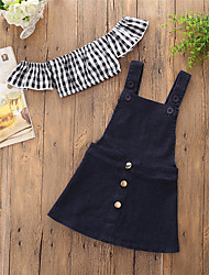cheap -Toddler Girls' Active Boho Party Going out Print Patchwork Backless Cut Out Rivet Short Sleeve Short Short Cotton Clothing Set Black / Lace up