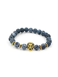 cheap -Men's Agate Bead Bracelet Animals Natural Fashion Agate Bracelet Jewelry Gold / Silver For Gift Daily / Silver Plated / Gold Plated