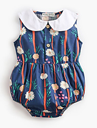 cheap -Baby Girls' Active Daily Floral Printing Sleeveless Cotton Bodysuit Royal Blue