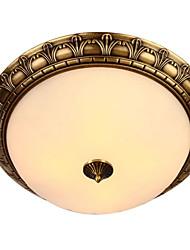 cheap -QIHengZhaoMing 2-Light Flush Mount Ambient Light Brass Metal Glass 110-120V / 220-240V Warm White / White Bulb Included