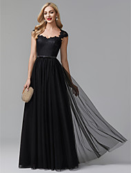 cheap -A-Line Elegant Prom Formal Evening Dress Queen Anne Sleeveless Sweep / Brush Train Lace Tulle with Sash / Ribbon 2020