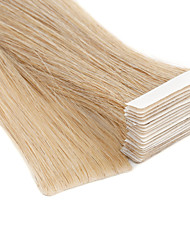 cheap -Neitsi Tape In Human Hair Extensions Straight Human Hair Human Hair Extensions Skin Weft Hair Extension 20 inch Blonde 100% Hand Tied Double Drawn Thick Hair End Women's Beige Blonde / Bleached Blonde