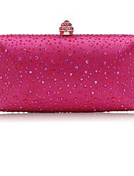 cheap -Women's Crystals Satin Evening Bag Rhinestone Crystal Evening Bags Blushing Pink / Fuchsia / Silver