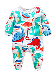 cheap -Baby Boys' Active Daily Print Printing Long Sleeve Cotton Romper White / Toddler