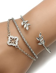 cheap -3pcs Women's Bracelet Floral / Botanicals Leaf Flower Ladies Fashion Alloy Bracelet Jewelry Silver For Daily Work
