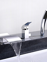cheap -Bathtub Faucet - Contemporary Chrome Deck Mounted Ceramic Valve Bath Shower Mixer Taps / Single Handle Three Holes