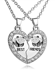 cheap -Women's Cubic Zirconia Pendant Necklace Broken Heart Heart Panda Best Friends Friendship Ladies Simple Casual Fashion Alloy Silver 45 cm Necklace Jewelry 2pcs For Gift Daily
