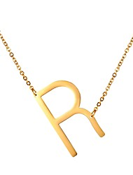 cheap -Men's Pendant Necklace Name Alphabet Shape Fashion Steel Stainless Gold Black Silver 51 cm Necklace Jewelry 1pc For Gift Daily