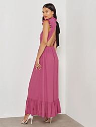 cheap -Women's Plus Size Party / Work Street chic / Sophisticated Maxi Slim Sheath / Swing Dress - Solid Colored Backless / Layered / Ruffle High Waist Halter Neck Summer Purple XL XXL XXXL / Ruched / Sexy