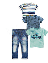 cheap -Baby Boys' Active Daily Print Short Sleeve Regular Cotton Clothing Set Light Blue / Toddler